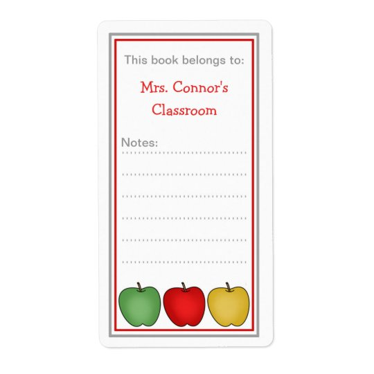 Three Apples school bookplates for teacher