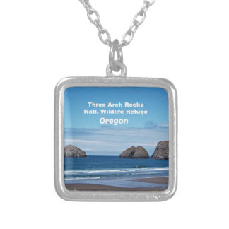 Three Arch Rocks, Natl. Wildlife Refuge Silver Plated Necklace
