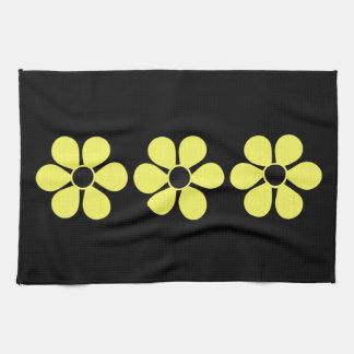 Three Artsy Yellow Daisies Tea Towel