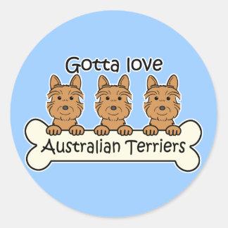 Three Australian Terriers Classic Round Sticker