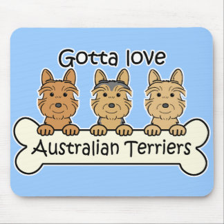 Three Australian Terriers Mouse Pad