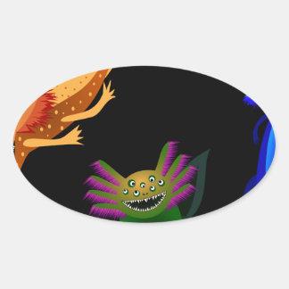 Three Axolotl monsters Oval Sticker