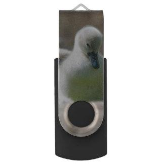 Three Baby Swan Cygnet ducklings cuddling together Swivel USB 2.0 Flash Drive