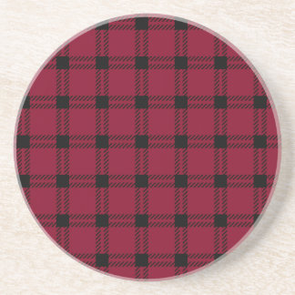 Three Bands Large Square - Black on Burgundy Drink Coasters