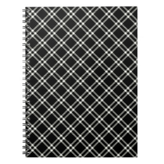 Three Bands Small Diamond - Beige on Black Spiral Note Books