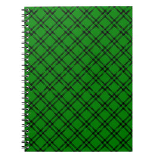 Three Bands Small Diamond - Black on Green Spiral Notebook