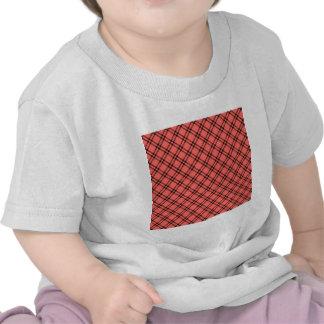 Three Bands Small Diamond - Black on Pastel Red T-shirt