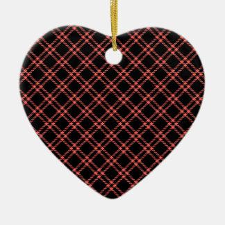 Three Bands Small Diamond - Pastel Red on Black Ceramic Heart Decoration