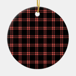 Three Bands Small Square - Pastel Red on Black Christmas Ornament