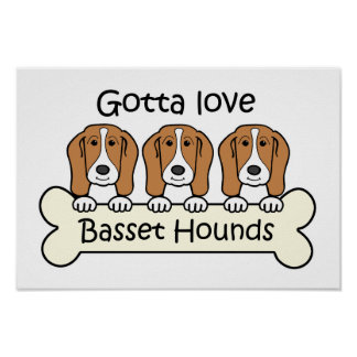Three Basset Hounds Print