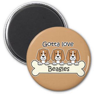 Three Beagles 6 Cm Round Magnet