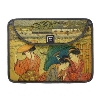 Three Beauties in the Rain Rickshaw Flap Sleeve MacBook Pro Sleeve