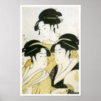 Three Beauties, Utamaro, 1790s Poster