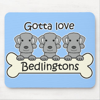 Three Bedlington Terriers Mouse Pad