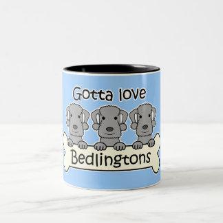 Three Bedlington Terriers Two-Tone Coffee Mug