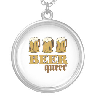 Three Beer Queer (2) Round Pendant Necklace