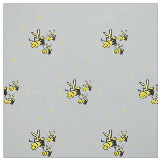 Three bees with a soft blue background fabric