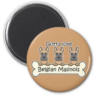 Three Belgian Malinois 6 Cm Round Magnet