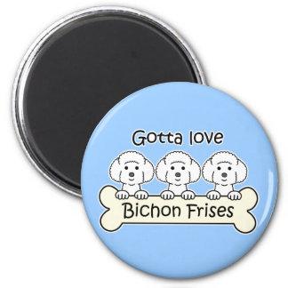 Three Bichon Frises 6 Cm Round Magnet