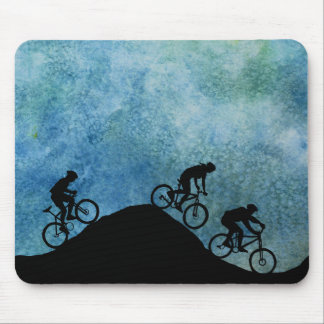 Three Bikers on Against a Blue Sky Mouse Mat