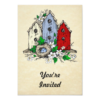 Three Birdhouses, a Nest and Flowers 13 Cm X 18 Cm Invitation Card
