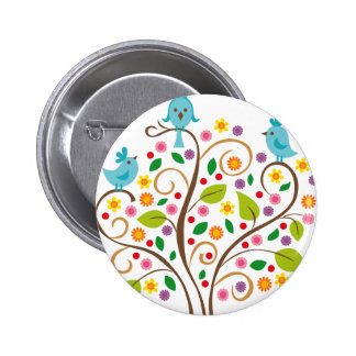 three birds 6 cm round badge
