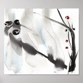 Three Birds on Willow Art Print