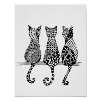 Three Black and White Cats Print