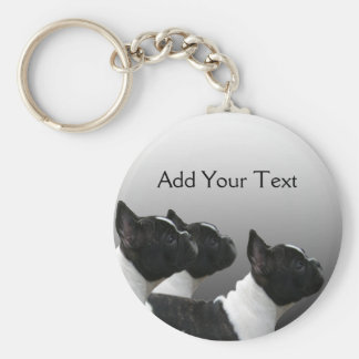 Three Black and White French Bulldogs Basic Round Button Key Ring