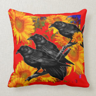 THREE BLACK BIRDS IN SUNFLOWER FIELDS CUSHION