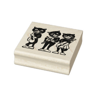Three Black Cat Musicians Guitar Fiddle Saxophone Rubber Stamp
