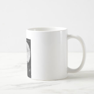 Three black cats and the moon. basic white mug