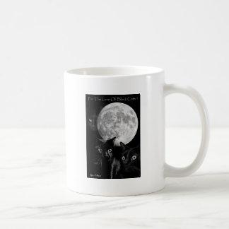 Three black cats and the moon basic white mug