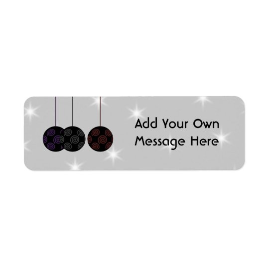 Three Black Christmas Baubles. Custom Text Return Address Label