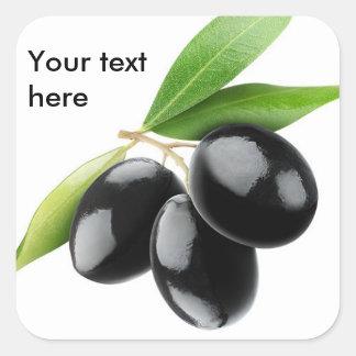 Three black olives square sticker