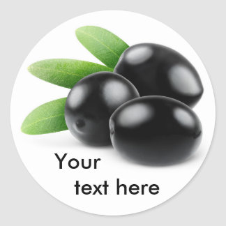 Three black olives with leaves classic round sticker