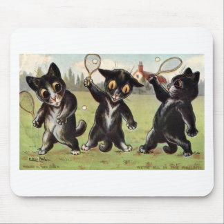 Three Black Tennis Cats Artwork by Louis Wain Mouse Mat