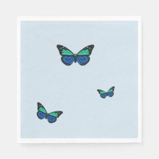 Three Blue Butterflies Paper Napkins