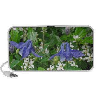 Three Blue Columbine Flowers Notebook Speakers
