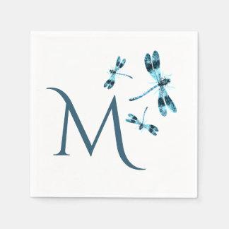 Three Blue Dragonflies Cute Monogram Paper Serviettes