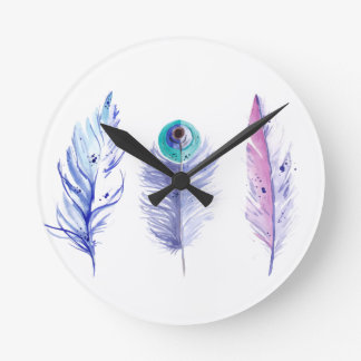 Three blue feathers round clock