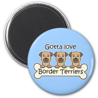 Three Border Terriers 6 Cm Round Magnet