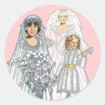 Three Brides Round Stickers