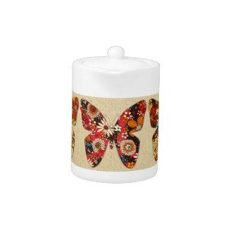 Three bright fabric butterflies