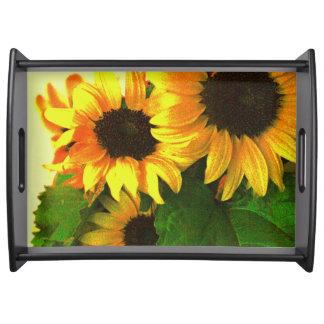 Three bright yellow sunflowers food tray