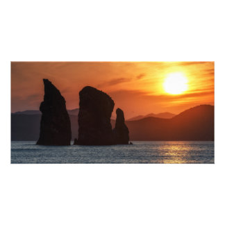 Three Brothers Rocks in Avacha Bay. Russia Photo Card Template