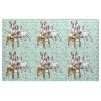Three Bull Terriers Fabric