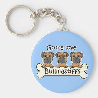 Three Bullmastiffs Basic Round Button Key Ring