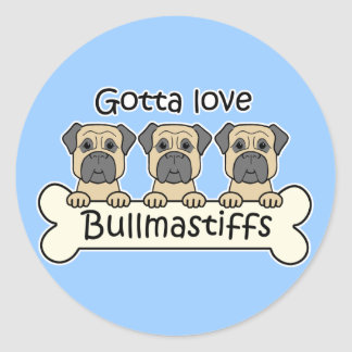 Three Bullmastiffs Classic Round Sticker