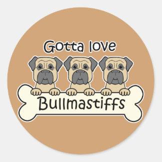 Three Bullmastiffs Round Sticker